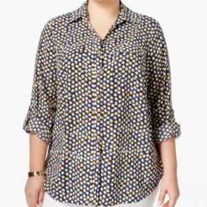 Charter Club Womens Shirt Button Down Dot Print